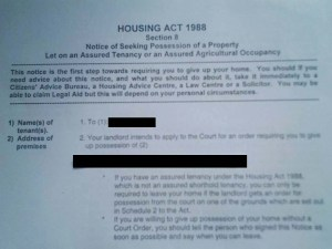 This is a Notice Seeking Possession - if you receive one of these contact us and one of the lawyers listed above